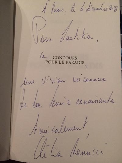 Dédicace de Clélia Renucci pour son roman Concours pour le Paradis